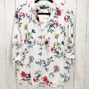 Zara Woman Multi-Color Floral Viscose Blouse|Large